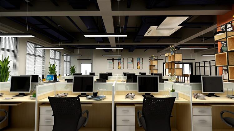 安徽中科美络信息公司办公室大厅工作区装修效果图